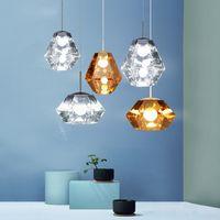 الحديث الماس قلادة الأنوار العنبر الاكريليك تعليق مصابيح LED للمطعم مقهى كافيه غرفة المعيشة الرئيسية الإضاءة PA0204