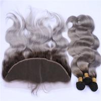 Ombre Silver Grey Peruanische Körperwelle Menschenhaar Bundles mit Frontals 1B / Grau Ombre Virgin Haar spinnt mit Full 13x4 Spitze Frontal Schließung