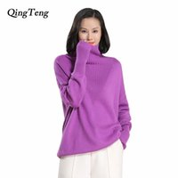 QingTeng 2017 New Pure Cashmere Sweater Women Casual Long Sl...