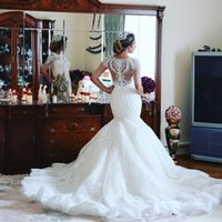 Elegant Dubai Mermaid Casamento Vestido Jewel Neck Half Sleeve Beads Lace Applique Vestido de Noiva Charming Africa Arabia Tulle Long Wedding Gowns