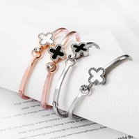 2018 Newest diamond clover bracelet rose gold silver alloy b...