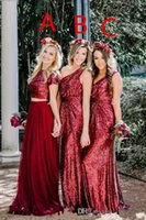 2018 Top Sale Burgundy Sequined Long Bridesmaid Dresses Sequ...
