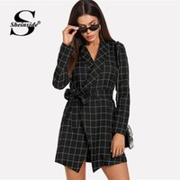 Sheinside Plaid Workwear Coat For Women Black Scialle Colletto manica lunga Self Tie Wrap Grid Autumn Ladies Elegant Outwear