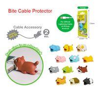 Doll Animal Cable Protector ل iPhone Cable Dog Bite Rabbit Cat دمية نموذج اللعب مع حزمة بطاقة نفطة