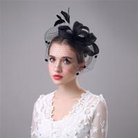 2018 элегантный белый / черный тюль короткая свадебная птица вуали вуали в наличии покрыты лицом bridal вуаль перо вуаль-шансы бесплатная доставка