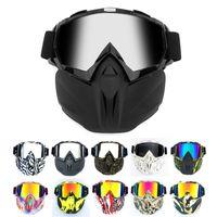 Modular Máscara Flexível Óculos Óculos Anti Poeira Areia Vento para a Face Aberta Motocicleta Meia Capacete ou Capacetes Do Vintage Cinza Claro