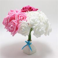 Atificial Çiçekler 100pcs / lot Pembe Yapay Köpük Gül Çiçek ile Ana Buket Parti Craft Dekor DIY Sıkma Şube 6cm Stem