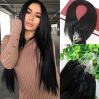 Natürliche Farbe Schwarz Glattes Haar 9A Brasilianische Haarverlängerungen 14 inch-26inch 100 Strands 100 gramm Loop Micro Ring Menschenhaarverlängerungen