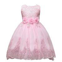 Biçimsel Sevimli Pembe Dantel Küçük Çocuklar Bebekler Çiçek Kız Elbise Prenses mücevher Boyun Tül Aplike Çiçek Kısa Düğünler MC0280 için Giyer
