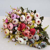 زهور اصطناعية رخيصة الحرير زهرة الأوروبي سقوط الشاي الصغيرة برعم وهمية ليف الزفاف الرئيسية المزهريات للزينة 10 قطع