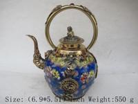 Los antiguos leones de bronce chinos en el Tíbet Longfeng tetera de cerámica opal