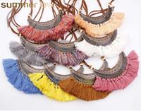قلادة الهلال الجديد بوهو الشرابة قلادة المختنق للمرأة خمر العرقية الملونة المخملية قلادة الأزياء والمجوهرات بالجملة