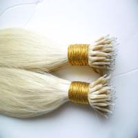 """Bague micro cheveux nano-malaisienne avec boucles Remy Blonde 100g Micro-extensions de cheveux avec boucles 1g extensions de cheveux avec micro-anneaux droits 16 """"18"""" 20 """"2 2"""" 24 """""""