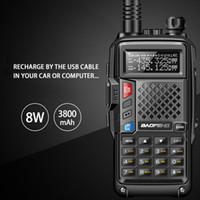 2018 BAOFENG BF-8W UVB3 PLUS de alta potencia UHF / VHF de banda dual a 10 KM de largo alcance walkie talkie Thickenbattery modo de carga múltiple