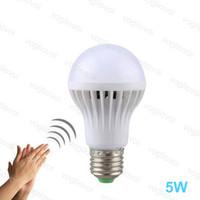 Lampadine a LED Auto Sensore audio AC175-245V 5W 60 * 104mm PC PP E27 6500K SMD2835 Alta luminosità per camera da letto vivente Sala studio cucina EUB