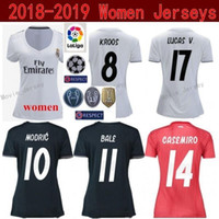 fe5dd5360 Lady Soccer Real Madrid Women Jersey La Liga 18 19 White Red BENZEMA TONI  KROOS MARCELO VAZQUEZ COURTOIS Football Shirt Kit Woman Uniform