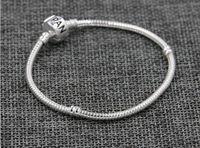 Avrupa Popüler Gümüş Kaplama Anahtar Zincirleri DIY için 3mm Yılan Zincirler Kişilik Charms Bilezikler, Takı için toka üzerinde Baskı Pan Logosu