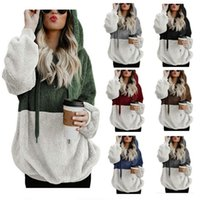 Women Sherpa Hoodies Long Sleeve Patchwork Pollover Sweatshi...