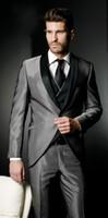새로운 남자 잘 생긴 실버 회색 연미복 년산 신랑 턱시도 들러리 남성 정장 댄스 파티 의류에 맞게 (재킷 + 바지 + 넥타이 + 조끼)