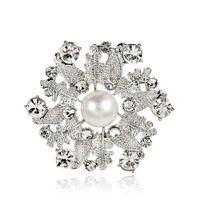 Broches de boutique de mujer, perlas de cristal de hoja de aleación de perla blanca broche de joyería de fiesta de señora 12 piezas envío gratis