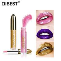 Qibest novo partido estrela pérolas brilho lip gloss cosméticos de vidro de metal lipgloss shimmer líquido batom beleza lábios maquiagem