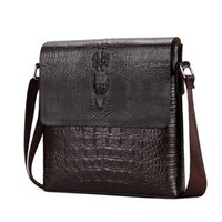 2018 New Men' s Alligator Pattern Flap Shoulder Bags For...