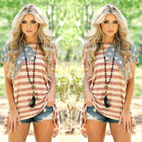 Women American Flag Asymmetric T- Shirt O Neck Striped Short ...