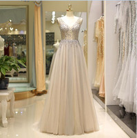 2018 New elegant Bling crystal Champagne gray prom gowns dee...