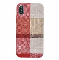 For iPhone X XR XS MAX 6S 7 8 Plus Linen Cloth Grip Case Bac...