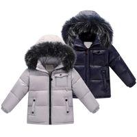 Niños 90% Pato blanco Ropa de invierno Abrigos de invierno Chaquetas de invierno Abrigos Nuevo Baby Boy Parka Chicas Sudadera de piel de gran tamaño