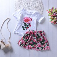 2PCS cute Rose Floral Toddler Kids Baby Girls Outfits Cute S...