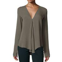 가을 빈티지 여성 시폰 블라우스 셔츠 V 넥 긴 소매 여성 튜닉 캐주얼 플러스 사이즈 블라우스 셔츠 여성 Kimonos mujer WGNVTX161