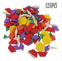 125 teile / satz Bunte 3D Holz Tangram Montessori Kinder DIY Puzzle Denkaufgabe Spielzeug Kinder Frühen Lernspielzeug Geschenk
