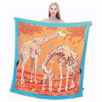 Nouveau Twill Foulard En Soie Femmes Animal Girafe Impression Foulards Carrés De Mode Wrap Femme Foulard Grand Hijab Châle Foulard 130 * 130CM
