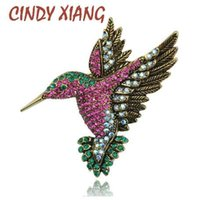 CINDY XIANG Colorful Rhinestone Hummingbird Brooch Animal Br...