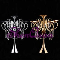 8pcs lot, wedding table centerpiece candle holder, gold cryst...