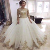 Charming Half Sleeve Ball Gown Wedding Dresses 2017 With Lux...