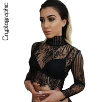 Cryptographic Turtleneck black lace blouse shirt crop top tr...