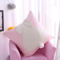 Comercio al por mayor 1 UNIDS 3D Conejito de Dibujos Animados de Algodón Cojín de Punto Cubierta Orejas de Conejo Funda de Almohada Coche Sofá Throw Pillows