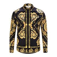 Brand New Hommes De Luxe Chemise De Mode Hommes Chemises Chemises slim fit Casual À Manches Longues Chemises En Coton 3D impression Chemise 90025