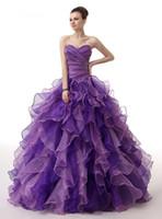 紫色のふくらんだ2018安いQuinceaneraのドレスボールガウンの恋人オーガンザビーズフリル甘い16ドレス