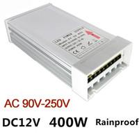 Fuente de alimentación conmutada a prueba de lluvia 12V LED Transformador 400W Led Driver Adaptador AC 90V-250V Fuente de alimentación de conmutación LED para la luz de tira del módulo