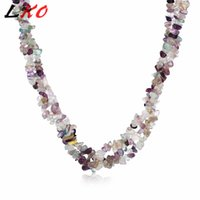 LKO Gravel Natural Stone Necklace For Women Red stone Blue C...