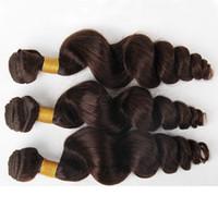 Les cheveux raides de vague brésilienne tisse les doubles trames 100g / pc 2 # brun foncé peut être les prolongements colorés de cheveux de Remy humain