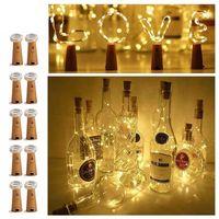 1M 10LED 2M 20LED 램프 와인 병 코르크 조명 구리 와이어 문자열 크리스마스 웨딩 축제 파티 별이 빛나는 불빛에 대 한