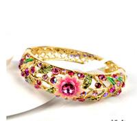 Beijing Cloisonne Pulseira, bracelete feminino banhado a vento nacional, jóias de moda retro, presente do dia das mães.