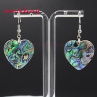 Orecchini cuore argento placcato argento naturale Abalone Shell Charms Accessori Euramerican Fashion Reiki Chakra Jewelry For Women