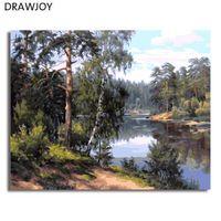 DRAWJOY Paisaje Enmarcado Pintura Por Números Arte de La Pared DIY Lienzo Pintura Al Óleo Decoración Para la Sala de estar GX7799 40 * 50 cm