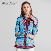 Moaayina Tasarımcı Pist Artı Boyutu 3XL Gömlek Bahar Kadınlar Uzun Kollu Turn Aşağı Yaka Ilmek Boncuklu Çiçek-Baskı Rahat Tops
