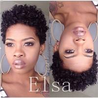 Pelucas del pelo humano para las mujeres negras Pelucas delanteras del cordón rizado afro afro peruano con el pelo del bebé pelucas de cabello humano de 4 pulgadas